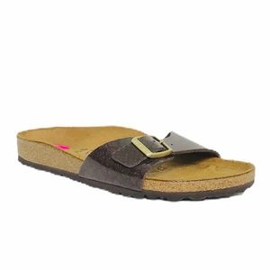 Birkenstock Madrid Shiny Brown Gold Slide Sandals